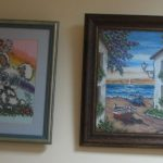 Onos Repšienės kryželiu siuvinėti paveikslai