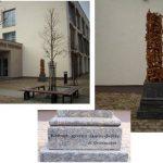 """Skulptūra """"Laisvam žodžiui"""", kurioje iškalti rašytojo Romualdo Granausko žodžiai"""